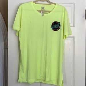 PINK yellow T-shirt with emblem. NWT. Large.